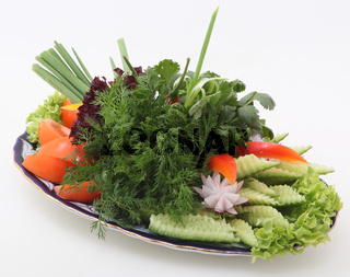 Vegetable cutting and parsley and fennel
