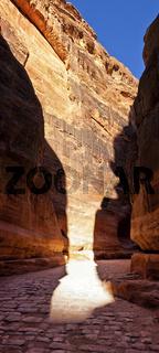 Canyon (Al-Siq) to the ancient city of Petra in Jordan