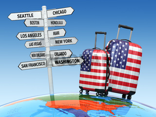 Travel concept. Suitcases and signpost what to visit in USA