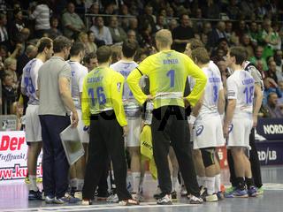Auszeit HSV beim DKB Handball-Bundesliga 2013/14 29.Spieltag,SC Magdeburg-HSV Handball in Magdeburg