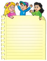 Part of blank page with happy kids - picture illustration.