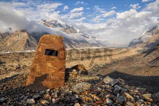 Beautiful landscape on Engilchek glacier in Tian Shan mountain range in Kyrgyzstan