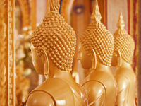 Buddha images in the interior of the temple. Thailand