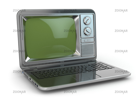 Online tv. Laptop with old-fashioned tv screen.