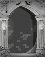 Black and white wall alcove - picture illustration.