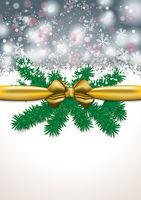 Christmas Card Golden Ribbon Grey Snowfal