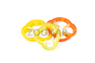 Multi-colour slices of peppers.