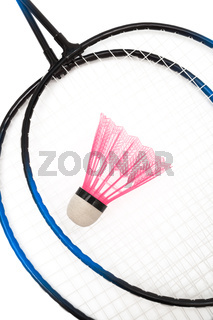 racket and shuttlecock badminton