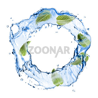 water splash with green mint isolated on white