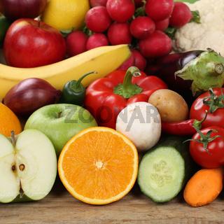 Geschnittenes Obst, Früchte und Gemüse