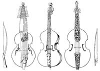 stringed instruments, old forms of the violin, viola da gamba, brass fiddle, viola bastarda, baryton, 16th Century
