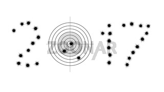 Bullet holes and target in shape of 2017