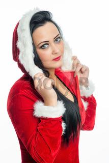 mädchen im weihnachtskostüm