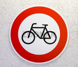 Verbotsschild für Fahrräder
