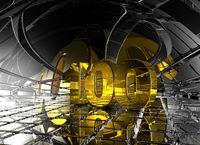 die zahl einhundert in futuristischer umgebung - 3d illustration