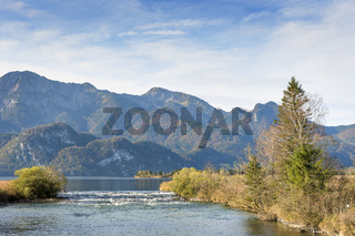 River Loisach with alps in Bavaria