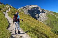 Hiker on the Princess Gina hiking trail,Liechtenst