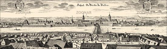 Historical  cityscape, Dresden, Saxony, Germany, Europe, 17th Century