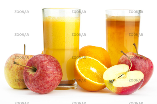 Orange and apple juice against