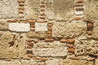 Traditional Stone and Brick Wall Background Textur