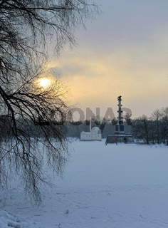Winter  landscape with Turkish Bath  and Chesme Column pavilion and lake