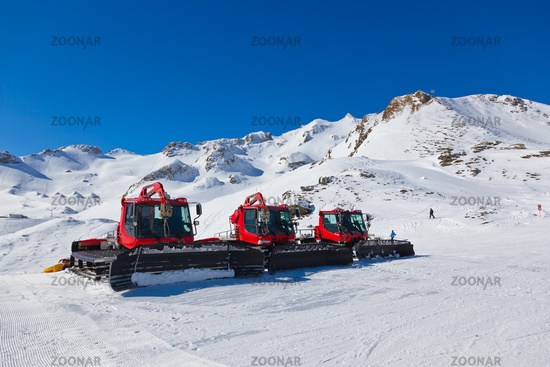 Machines for skiing slope preparations at Bad Hofgastein - Austria