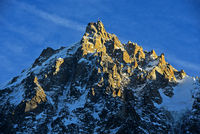 Aiguille du Midi in the evening sun, France
