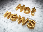 News concept: Golden Hot News on digital background