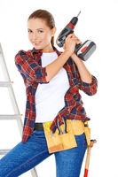 Competent young DIY woman