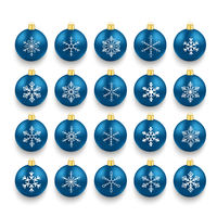 Blue Baubles With Snowflakes Set