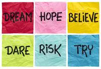 dream, believe, risk, try