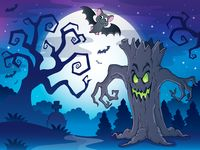 Scenery with Halloween thematics 1 - picture illustration.