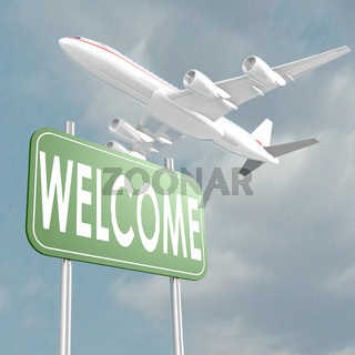 Welcome sign with airplane