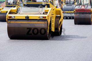 Steamroller at road repairing works