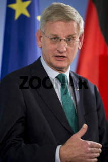 German Foreign Minister Steinmeier meets with Swedish Foreign Minister Carl Bildt in Berlin.