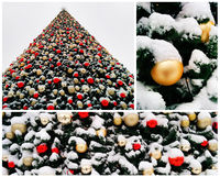 Collage of snow-covered christmas tree decorated with balls outdoor