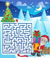Maze 3 with Santa Claus and gifts - picture illustration.