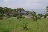Übersicht über den Garten des Meerestempel Pura Tanah Lot, Bali,