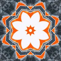 Mandala orange swadhisthana lotus flower symbol. Stylized chakra image