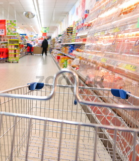 view of a shopping cart at supermarket