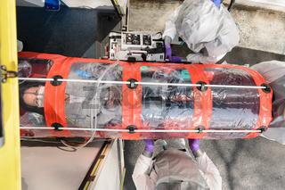 Contaminated patient on stretcher biohazard team