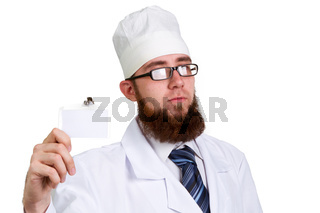 young bearded doctor in glasses  Isolated on white