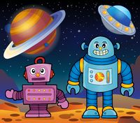 Space theme with robots 2 - picture illustration.