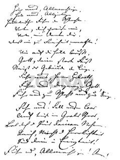 Hand written by Carl Theodor Koerner, 1791 -1813, a German poet