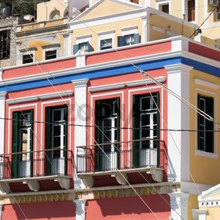 Rot Gelbes Haus auf Symi
