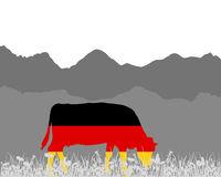 Kuh Alm und Deutschlandfahne - Cow alp and german flag