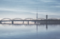 Railway bridge over the Daugava river. Riga, Latvia