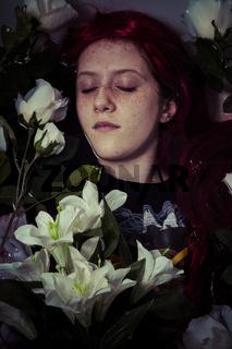 young girl lying in water, romantic scene