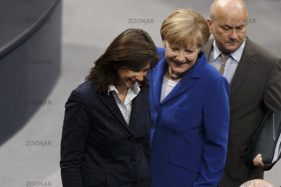 Delivery of a governmental declaration by Merkel in Bundestag