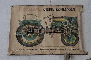 Werbeplakat für Landmaschinen